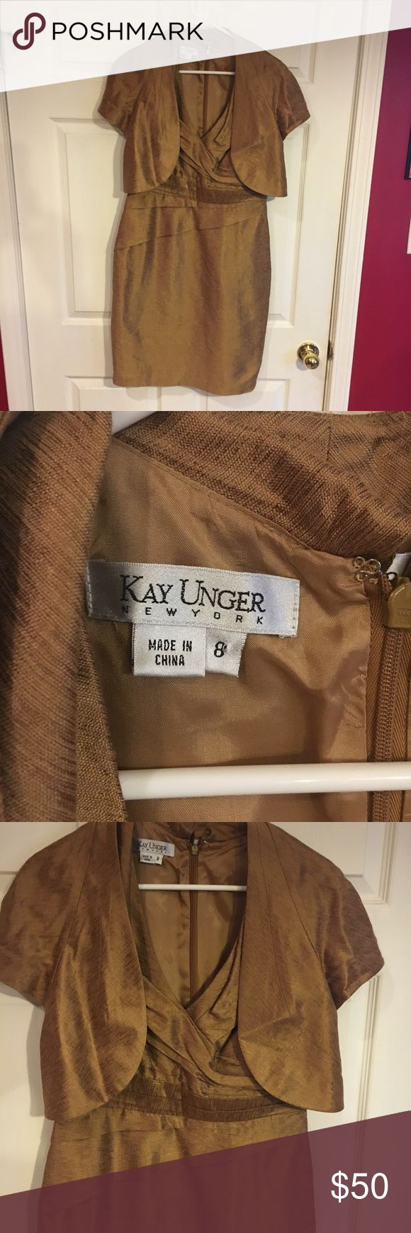 Kay Unger Dress with Jacket, Size 8 Very nice dress, comes with jacket.  Sleeveless, Gold Kay Unger Dresses