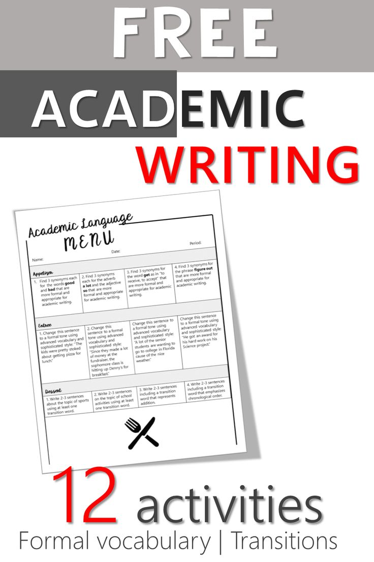 Secondary ELA academic writing activities menu covers transitions and formal vocabulary in essay writing. FREE resource!
