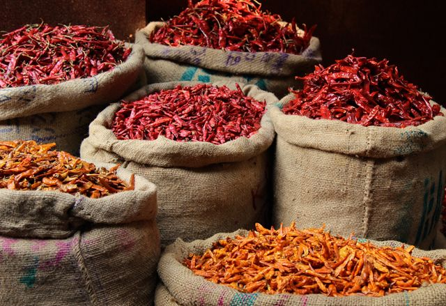 Beautiful Chilli Peppers at the Spice Market in Old Delhi, India