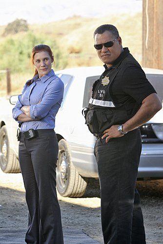 Still of Laurence Fishburne and Katee Sackhoff in CSI: Crime Scene Investigation