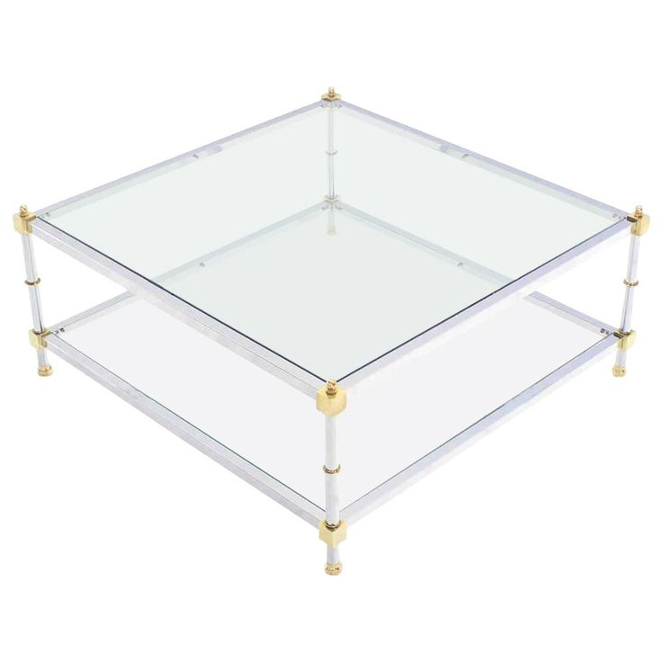 Large 37x37 Square 2 Tier Chrome Brass Glass Top Coffee Table