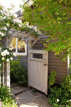 Garden Inspiration - garden gate | n.b. - Use similar siding as the house and garage for lower fence portion, the instal door, bottom half solid.