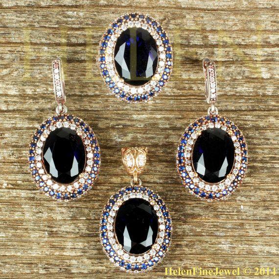 Hurrem Sultan Set Oval Shape Sapphire Color by helenfinejewels
