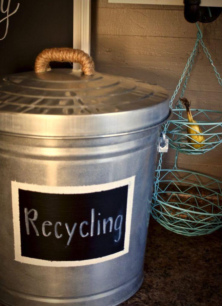 Create a Rustic Recycle Bin w/ Chalkboard Label