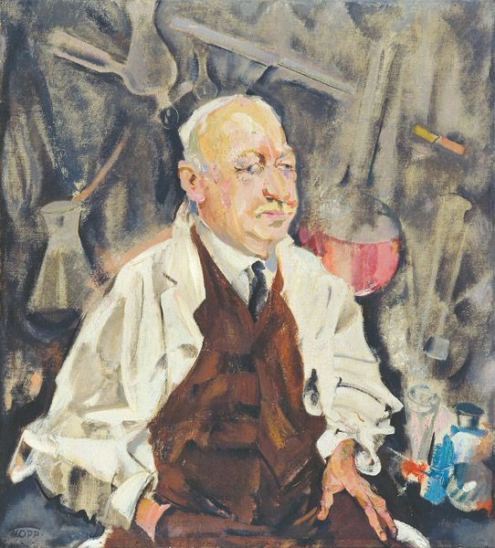 Martin Hahn, 1926 by Max Oppenheimer (Austrian 1885 - 1954)....looks as if he were a chemist, or something along those lines....