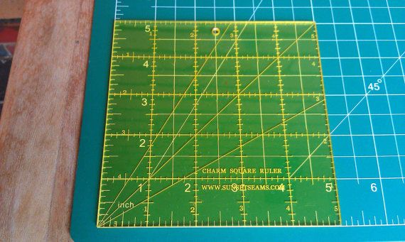 Charm Square Ruler - 5x5 inch Square Acrylic Ruler - Make 5 inch Pre-cut Squares from your own ...