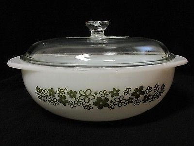 Vintage RARE PYREX SPRING BLOSSOM GREEN 2 QT Round Casserole Dish & Lid 024 in Pottery & Glass, Glass, Glassware   eBay