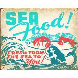Retro Seafood Restaurant Sign - With Vintage Mermaid Design $14.88