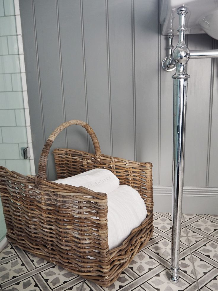 Towel Storage Ideas  Laura Ashley tiles Mr Jones, Charcoal
