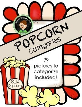 Therapy game for working on categorization and descriptions. I like to use EET beads with students who have description goals while playing this game!   To play: Use a plastic popcorn container (can be found in many dollar stores) and throw in all the picture popcorn as well as a few POP!