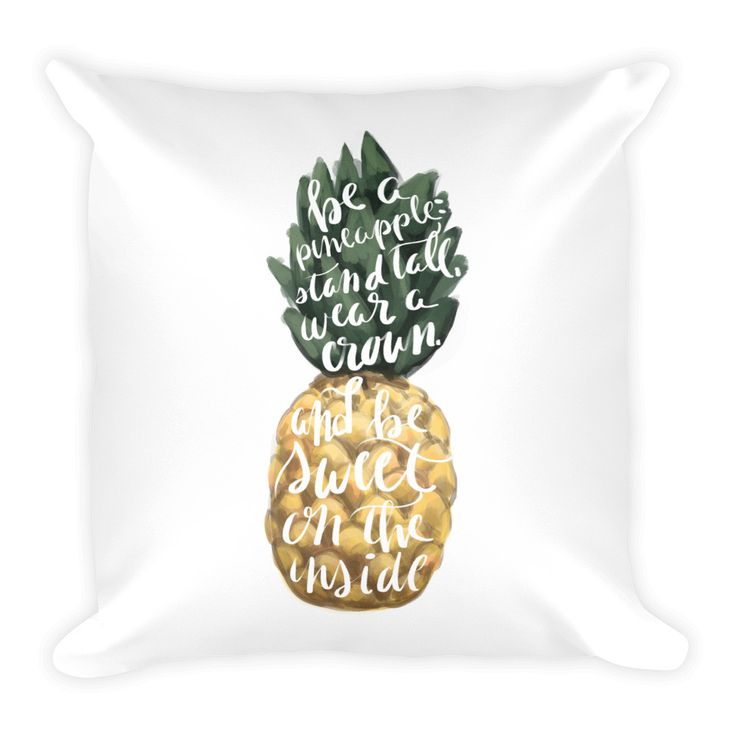 Wear a Crown Pineapple Typography Square Pillow