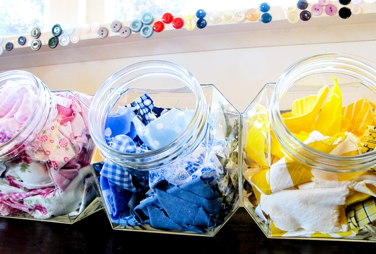 My kind of candy! I store all the teeny tiniest scraps of fabrics that I use in the tinch range in lolly jars