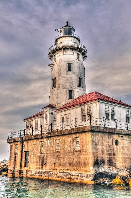 Chicago Harbor Lighthouse on Lake Michigan - Chicago IL by mbell1975, via Flickr