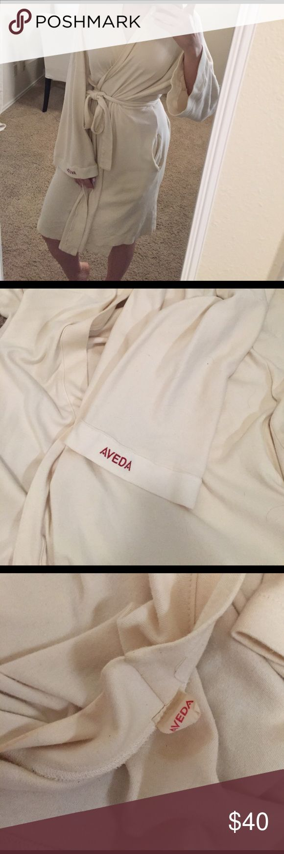 Aveda® 100% Organic Cotton Spa Robe Kimono style wrap/tie Spa robe from an Aveda Spa that I worked at. This was given to me as a gift. There are signs of wear but no holes or rips, and heavy quality cotton means this robe has many years of life left. Incredibly soft. I have too many robes, that's why I am letting this one go.One size fits most. This retailed for $100. Aveda Intimates & Sleepwear Robes
