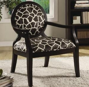 Coaster 900214 Louis Style Accent Chair with Exposed Wood Arms, Giraffe Print
