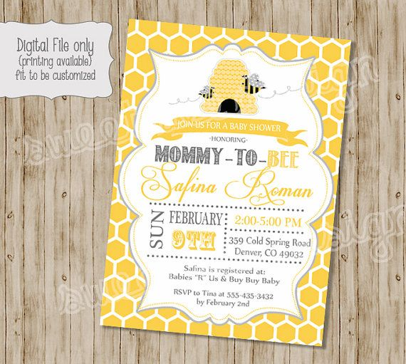 Bee Baby Shower Invitation Mommy To