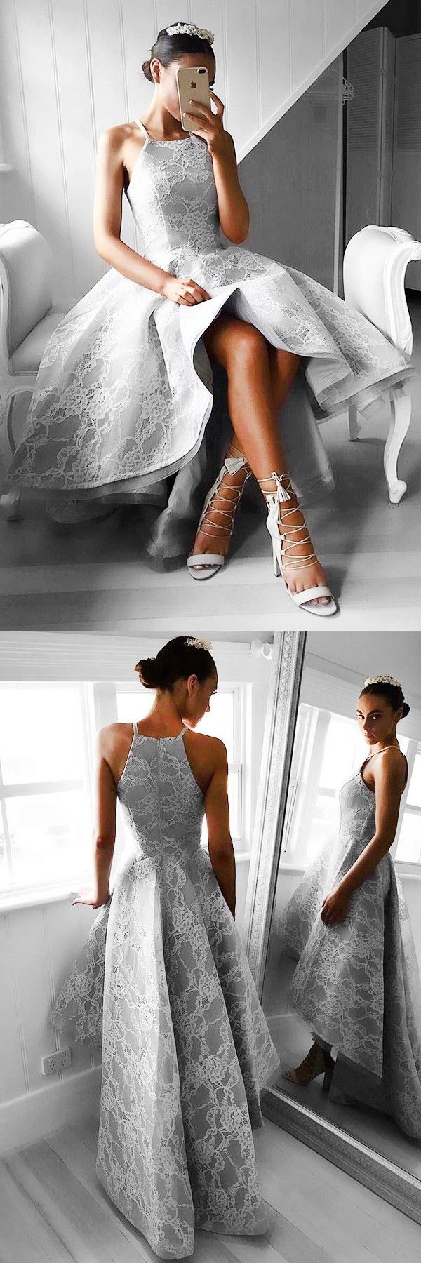prom dresses, chic hi lo party dresses, grey lace evening gowns, sleeveless prom dresses 2017