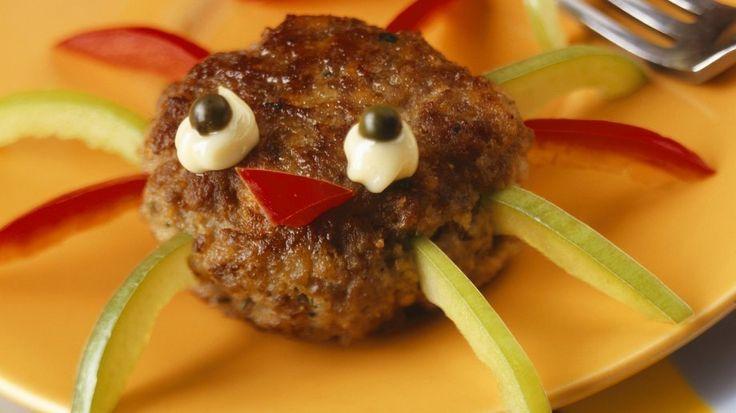 Nicht nur zu Halloween der Hit: Buletten-Spinnen mit frischer Paprika   http://eatsmarter.de/rezepte/buletten-spinnen-zu-halloween