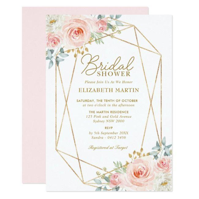 Create Your Own Invitation Zazzle Com Geometric Bridal Shower Bridal Shower Invitations Floral Bridal Shower Invitations