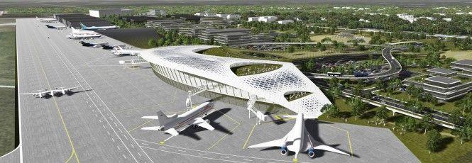 """O Sistema Aeroportuário Houston divulgou umarenderizaçãoda sua mais recente proposta: um aeroporto para naves espaciais. O projeto intitulado """"Houston Spaceport"""" possui um terminal futurista, uma universidade para treinamento de astronautas, simulação de gravidade zero e um local para lançamento d"""