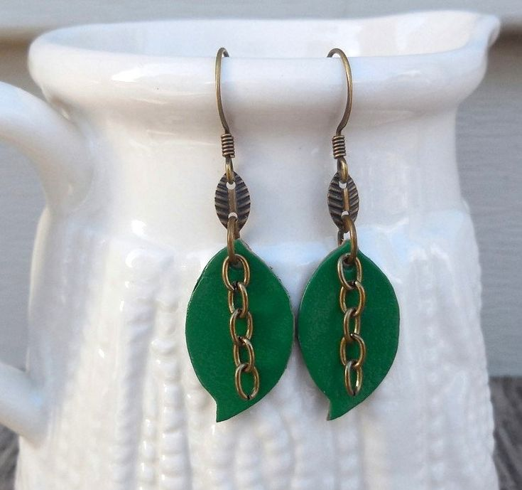 Leather Earrings, Green Earrings, Boho Earrings, Leaf Shape, Lead Free Hooks, Super Lightweight, St Patrick Day Gift