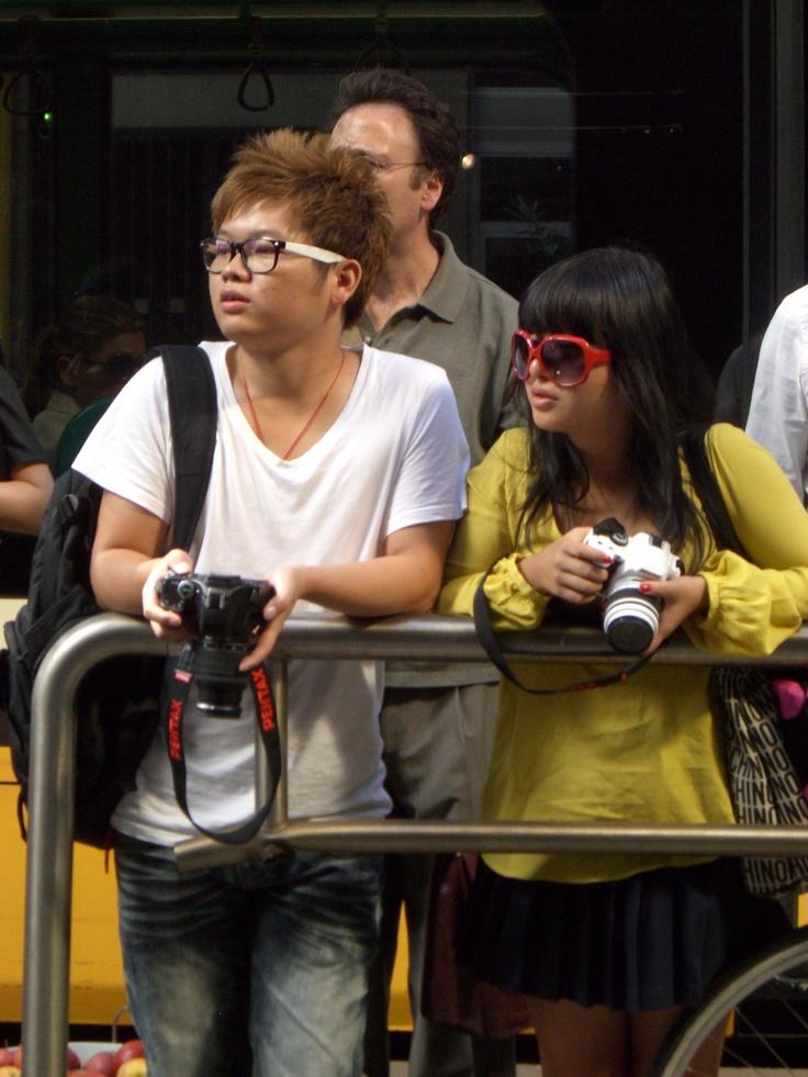 Waiting... Couples :-) D&G;, Viale Piave, Milan - 22 september 2011 #MilanFashionWeek #D&G; #Yellow Ph. Cristiana Stradella/FiloAgoGo