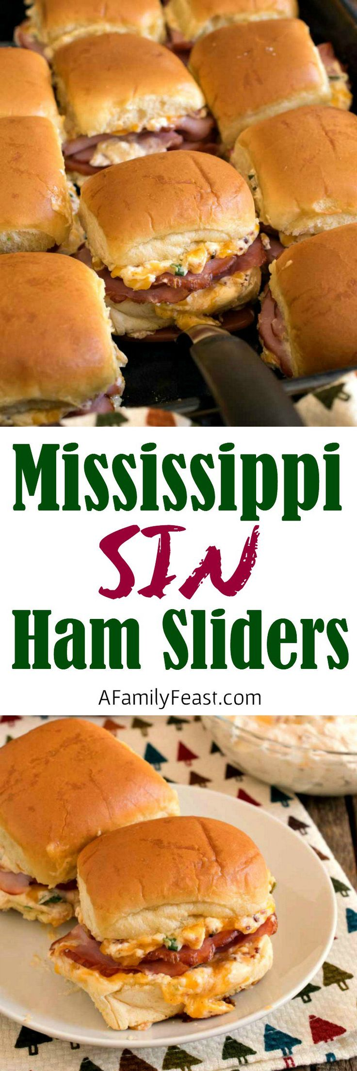 Mississippi Sin Ham Sliders - Delicious ham sliders with a zesty cheesy topping - just like the Mississippi Sin Dip! #ad @HatfieldMeats #SimplyHatfield #resetthetable