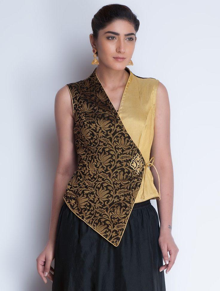 Buy Black Golden Jacquard & Zari Embroidered Angrakha Jacket by Neemrana Apparel Jackets Styled from Stone Kurtas Lehngas Chanderi Kurta Sets and More Online at Jaypore.com