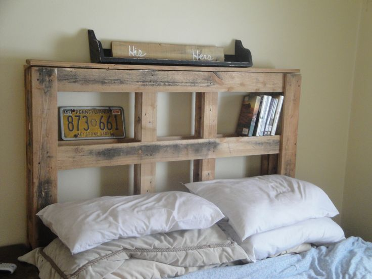 Headboard from wood pallets pallettes pinterest for How to make a wood pallet headboard