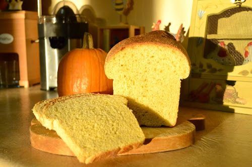 Over at Julie's: Golden Pumpkin Bread ~ made . . . not baked . . . in the bread machine ... This moist, tasty bread was perfect as toast for my morning egg sandwich.  Can't wait to try it with a knifeful of Skippy's Natural Peanut Butter.