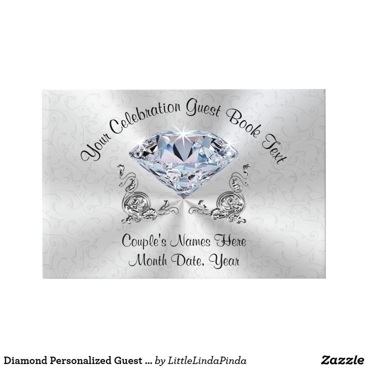 100th Birthday Guest Book. Personalized Guest Book for Your Occasion. Type in YOUR Occasion and Name or Delete. CLICK: https://www.dropbox.com/s/rmb4eu7uwtilrzt/Screenshot%202017-04-15%2009.34.46.png?dl=0 Gorgeous Diamond Birthday Party Decorations. Each guest can write down their special message. Stunning and memorable 100th birthday guest book or any year, such as 60th birthday guest book, 75th birthday ideas for mom. CALL Zazzle Designer Linda for more 100th birthday ideas. 239-949-9090