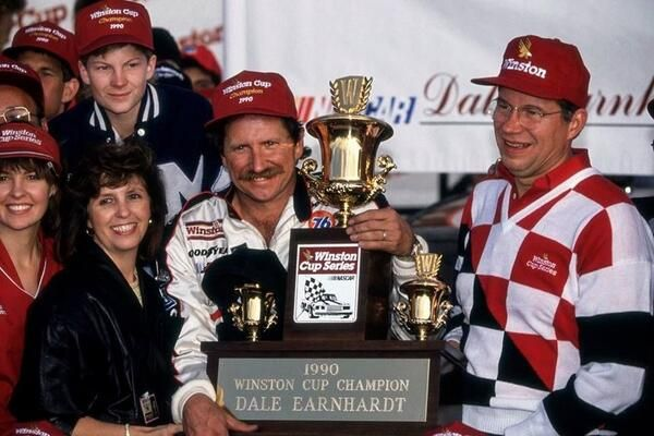 Dale Earnhardt and Dale Jr (age 16) after winning 1990 Winston Cup championship