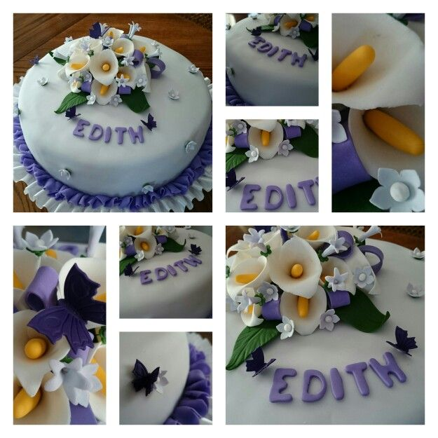 Lily flowers cake decor. Purple and white cake