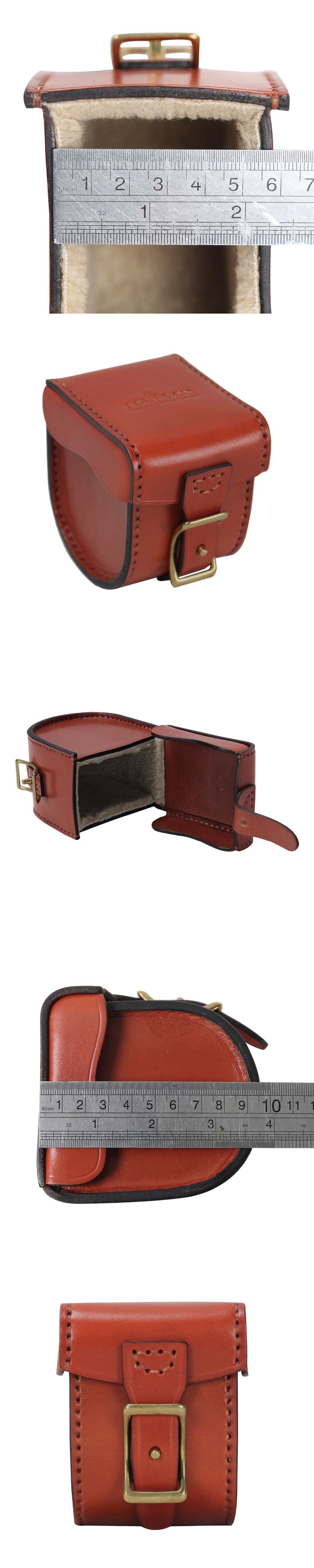 Tourbon Fishing Reel Case Vintage Vegetable Leather Thick Padded Carrier Brown  Fly Fishing Accessories for Fisher