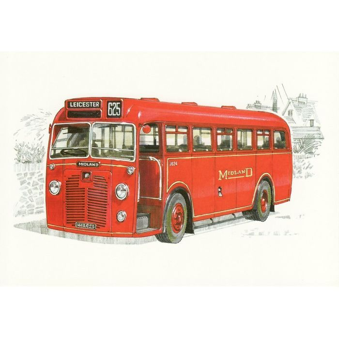 Bus Art Postcard Midland Red 3024 BMMO S10