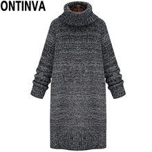 Más el Tamaño Gris Suéter Largo XL 4XL Moda Turleneck Vestido de Suéter Mujer de Punto Suéteres Gruesos de Otoño Invierno Sólido Diseño(China (Mainland))