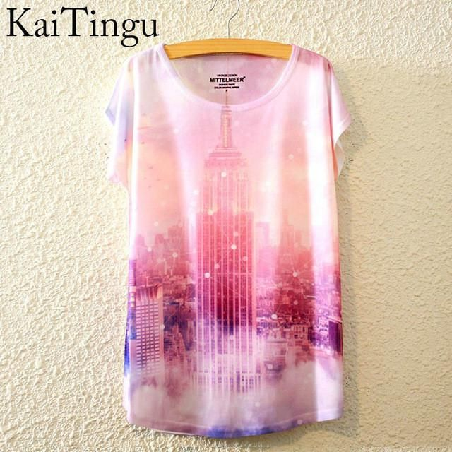 NY Empire State Building Graphic Print Short Sleeve T-Shirt