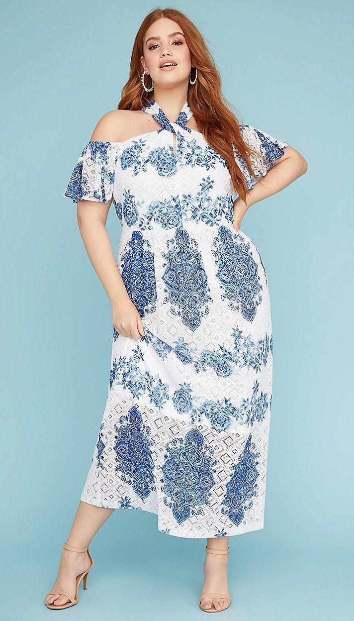 Plus Size Summer Dress Maxi Dress Plus Size Summer Fashion Cold Shoulder Maxi Dress [ 1248 x 712 Pixel ]