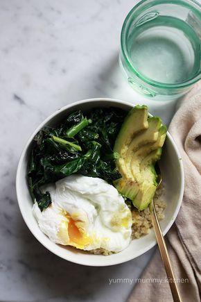 quinoa, kale, egg, avocado breakfast bowl