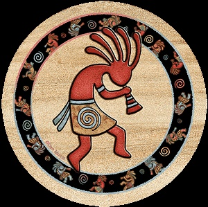 """Southwest Spirit Coasters - """"Kokopelli Toss"""". Desert Canyon Gifts presents a variety of Southwestern Themed Beverage Coasters. Everything from cactus images to kokopelli, geckos, pottery, etc. These sandstone coasters are great accents to your Southwest Decor or simply purchase for a gift for any occasion. Made from natural sandstone - cork backing. 4"""" diameter. Set of 4 - $19.99"""