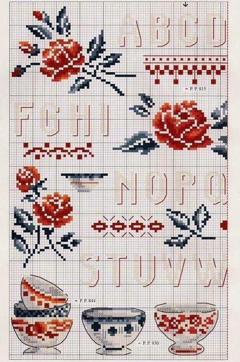 """Bonito coração coisas: Ponto de Cruz: """"Flores de Digoin ou renascimento da famosa cerâmica"""""""
