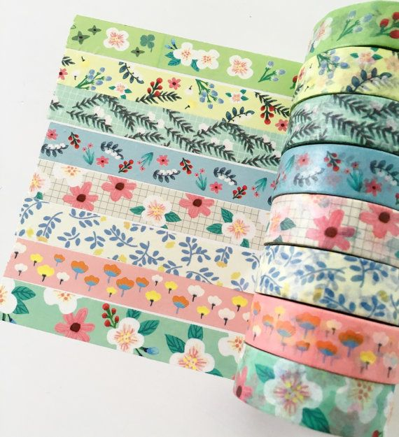 Pack of 8 Floral Washi Tape Set