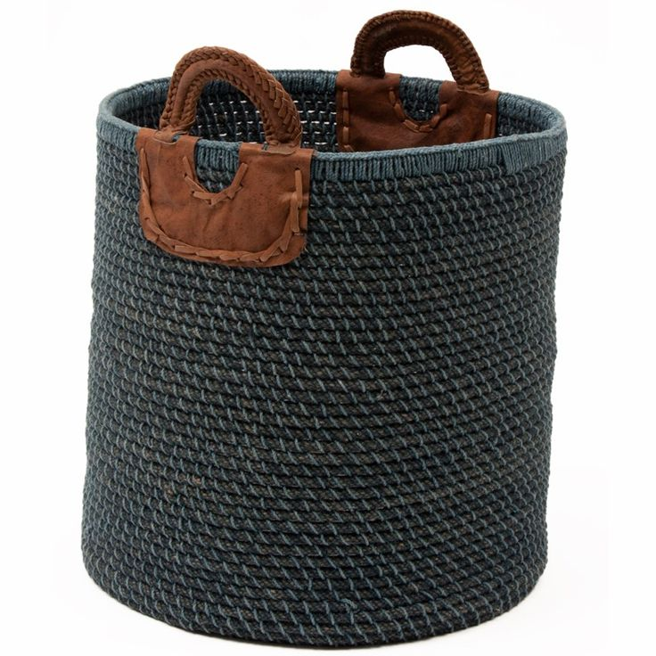INDIGO LAUNDRY/STORAGE BASKET - handwoven by artisans in India, check out this gorgeous laundry cum storage basket available at our site. It has leather handles!!