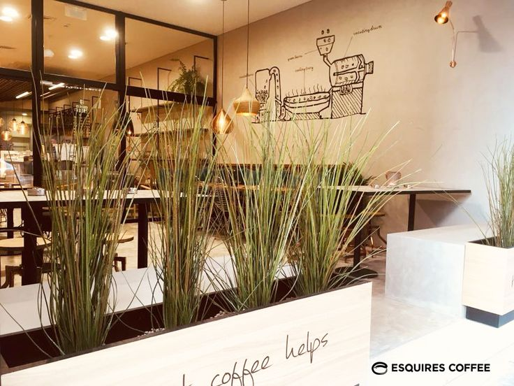 ESQUIRES COFFEE PORTO _ Patio - Outdoor seating area  #blackgraphic #greatcoffeehelps #woodenplanter #outdoorplant #concretewall #concretefloor #coffeeshop #coffeeshopporto #esquirescoffee #porto #portugal