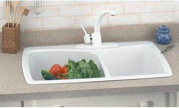 Kitchen Sinks White Carea Double Kitchen Sink | 99966 - transitional - Kitchen Sinks - The Renovator's Supply, Inc.