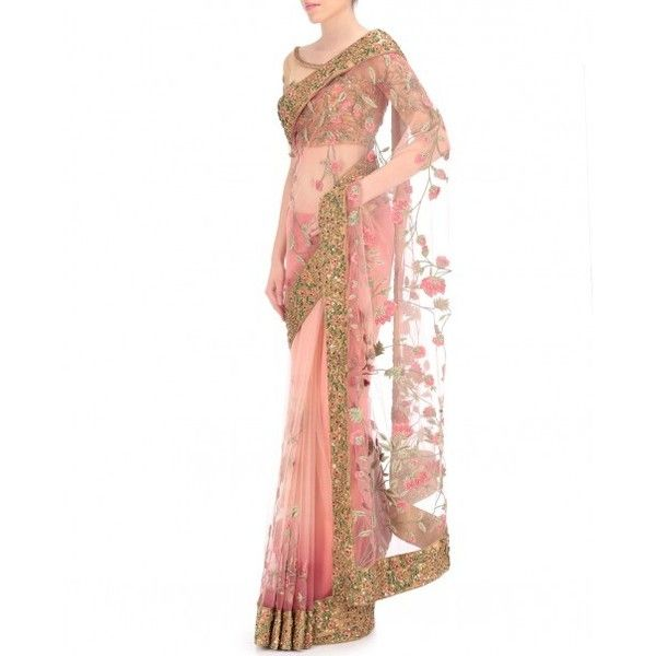 Powder Pink Net Saree With Thread Embroidery ❤ liked on Polyvore featuring tops, netted tops, pink top, white top, white embroidered top and embroidery tops