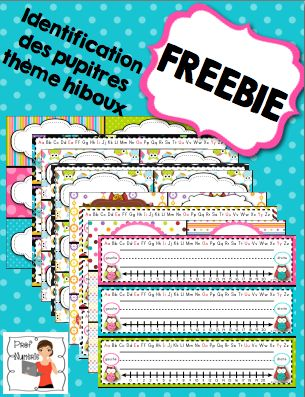 FREEBIE (owl theme) Utilisez ces affiches pour identifier les pupitres de vos élèves. Sur l'affiche, vous retrouverez : - 2 types de trottoirs pour écrire les noms, - alphabet (voyelles en couleur) - gauche,droite - droite numérique (1 à 20)