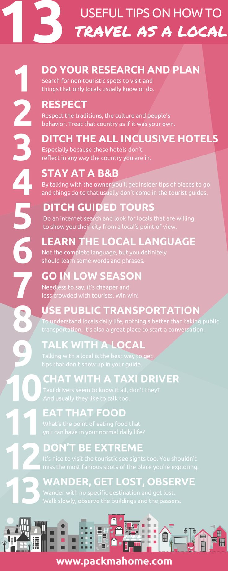 13 USEFUL TIPS ON HOW TO TRAVEL LIKE A LOCAL  http://packmahome.com/13-useful-tips-on-how-to-travel-like-a-local/