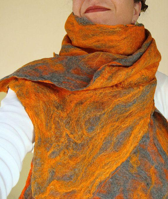 cobweb felted scarf vitamin orange by QaraQul on Etsy
