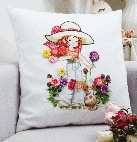 Coricamo - Silk ribbon embroidery, Haft wstążeczkowy, Stužková výšivka, Bändchenstickerei, pillow